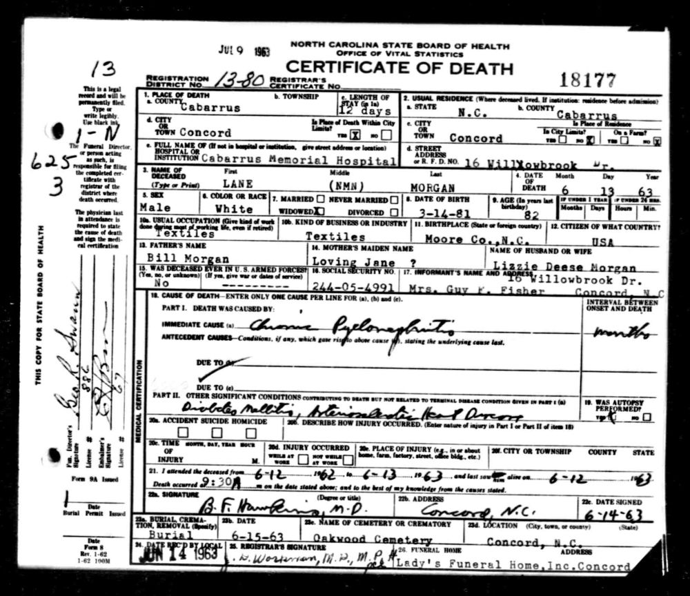 Documents 1963 death certificate cabarrus county nc lane documents 1963 death certificate cabarrus county nc lane morgan the wallaces of moore county nc xflitez Choice Image