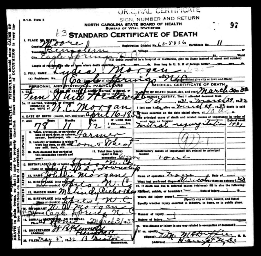 Documents 1932 death certificate moore county nc lydia documents 1932 death certificate moore county nc lydia williams the wallaces of moore county nc xflitez Choice Image