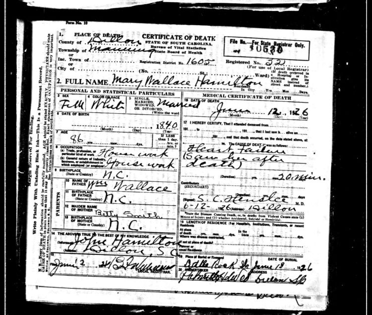 Documents 1926 Death Certificate Dillon County Sc Mary 34