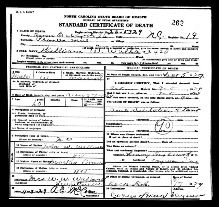 documents: 1929 death certificate cumberland county, nc - william ...