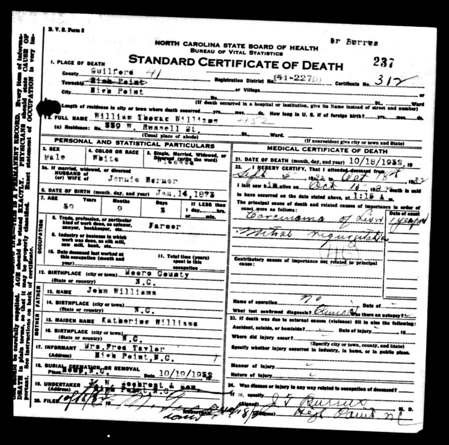 Documents 1932 Death Certificate Guilford County Nc William
