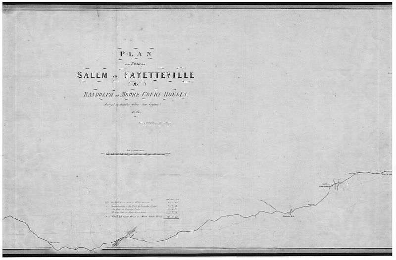1823 Map of the Road from Salem to Fayetteville by Randolph and Moore County Courthouses by Hamilton Fulton and Robert H.B. Brazier (This sheet details portions from Randolph line to Long Meadow Branch)